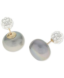 Dyed Gray Cultured Freshwater Pearl (11mm) and Crystal Pavé Ball Front and Back Earrings in 14k Gold