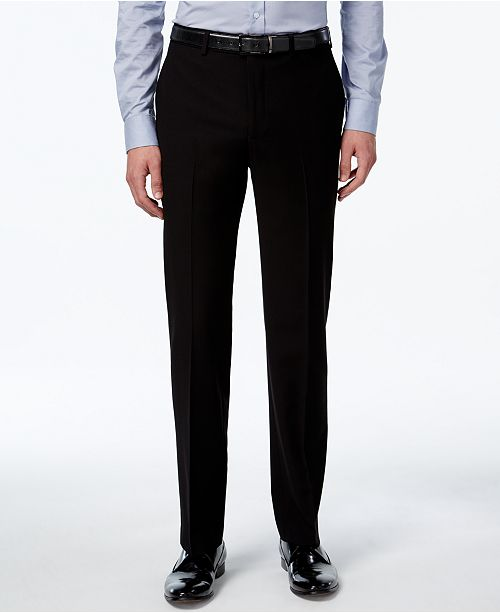 6e036beb95 Calvin Klein Men s Slim-Fit Black Herringbone Dress Pants - Pants ...