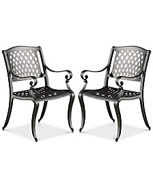 Orven Set of 2 Cast Aluminun Outdoor Chairs, Quick Ship