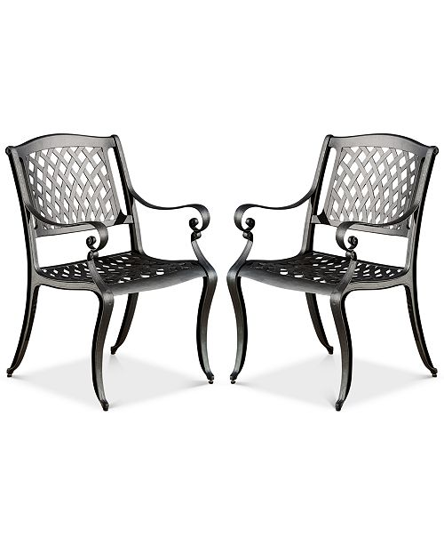 Furniture Orven Set of 2 Cast Aluminun Outdoor Chairs, Quick Ship