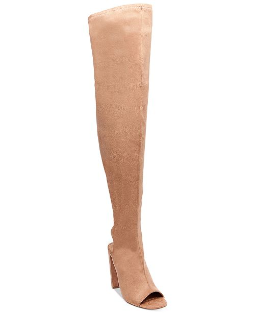 dfb8f1bd5 Steve Madden Women's Kimmi Peep-Toe Over-The-Knee Boots ...