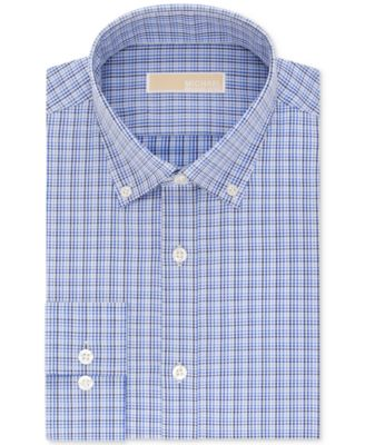 MICHAEL Michael Kors Men\u0026#39;s Big and Tall Classic Fit Blue Check Dress Shirt
