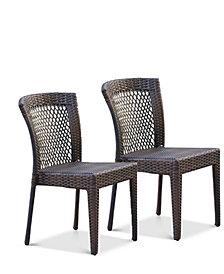 Hanmore Set of 2 Outdoor Wicker Chairs, Quick Ship
