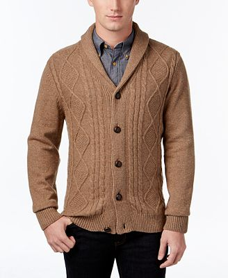 Tricots St. Raphael Men's Cable-Knit Shawl-Collar Cardigan