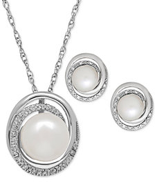 Cultured Freshwater Pearl (7 & 8mm) and Diamond Accent Pendant Necklace and Earrings Set in St