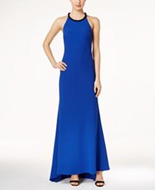 Calvin Klein Embellished Halter-Neck Crepe Gown