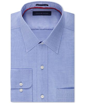 Tommy Hilfiger Men's Classic-Fit Non-Iron Blue Dress Shirt - Dress ...