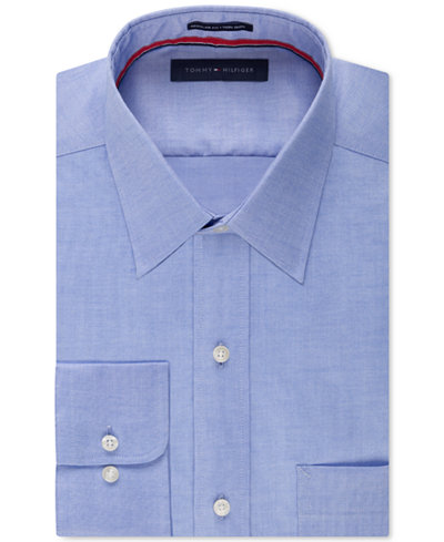 Tommy Hilfiger Men's Classic-Fit Non-Iron Blue Dress Shirt