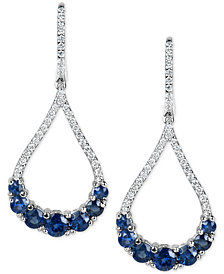 Sapphire (2-3/4 ct. t.w.) and Diamond (1/2 ct. t.w.) Fancy Drop Earrings in 14k White Gold