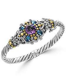 EFFY® Amethyst (3 ct. t.w.) and Blue Topaz (2-1/6 ct. t.w.) Bracelet in Sterling Silver and 18k Gold