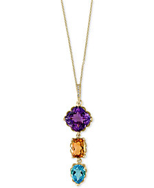 EFFY® Multi-Gemstone (7 ct. t.w.) and Diamond Accent Pendant Necklace in 14k Gold