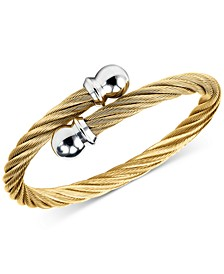 Unisex Celtic Twisted Cable Bracelet in Gold-Plated Stainless Steel