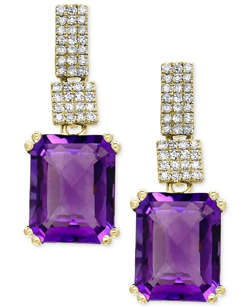 EFFY Collection EFFY® Amethyst (5-1/3 ct. t.w.) and Diamond (1/5 ct. t.w.) Drop Earrings in 14k Gold