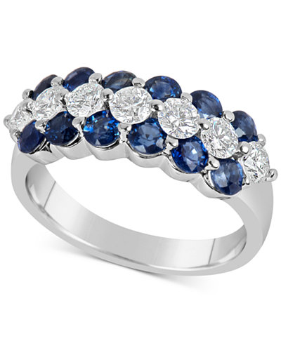 Sapphire (1-5/8 ct. t.w.) and Diamond (5/8 ct. t.w.) Ring in 14k White Gold