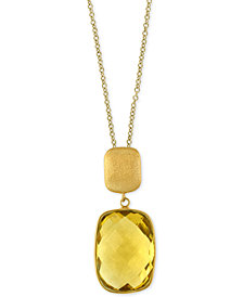 EFFY® Lemon Quartz Pendant Necklace (12-3/4 ct. t.w.) in 14k Gold