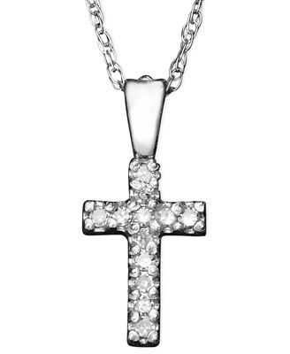 Children S 14k White Gold Pendant Diamond Accent Cross