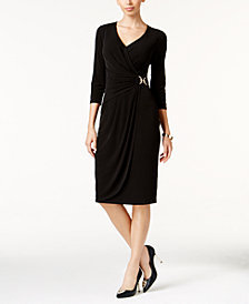 Thalia Sodi Buckled Faux-Wrap Dress, Created for Macy's