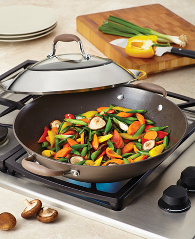 Anolon Advanced Bronze Nonstick 14 Quot Covered Wok Cookware