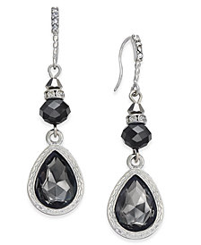I.N.C. Silver-Tone Jet Stone Drop Earrings, Created for Macy's