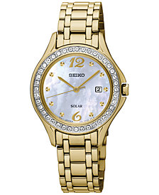 Seiko Women's Solar Gold-Tone Stainless Steel Bracelet Watch 29mm SUT314