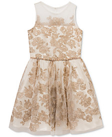 Rare Editions Embroidered Illusion Party Dress, Big Girls