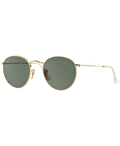 Ray Ban Green Classic G-15 Round Metal Sunglasses