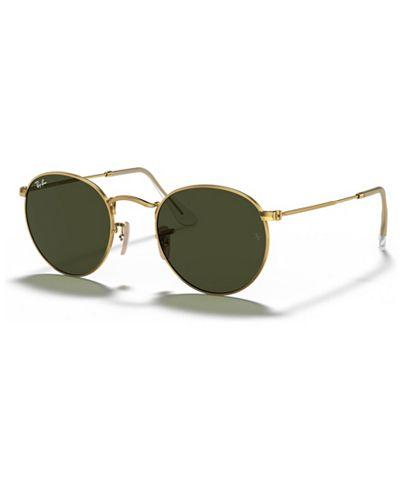 Ray Ban Green Classic G-15 Round Metal Sunglasses