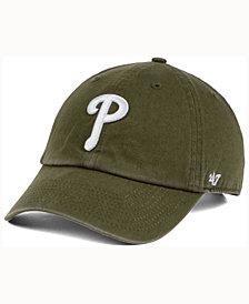 '47 Brand  Philadelphia Phillies Olive White CLEAN UP Cap