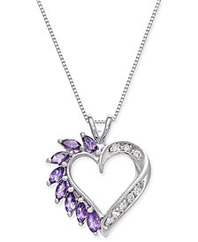 Amethyst (3/4 ct. t.w.) and Diamond Accent Heart Pendant Necklace in 14k White Gold