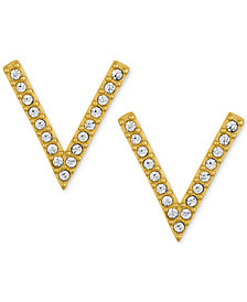 "RACHEL Rachel Roy Gold-Tone Pavé ""V"" Stud Earrings"