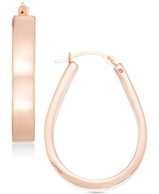 Polished Pear-Shape Hoop Earrings in 14k Gold or Rose Gold over Resin, Created for Macy's