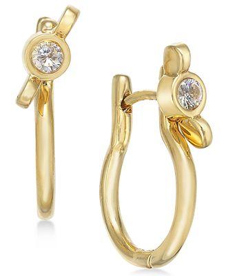 Marc by Marc Jacobs Gold-Tone Crystal Wingnut Hinge Hoop Earrings