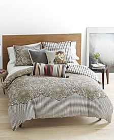 Whim by Martha Stewart Collection Bohemian Rhapsody Reversible Seashore Tan Duvet Sets, Created for Macy's