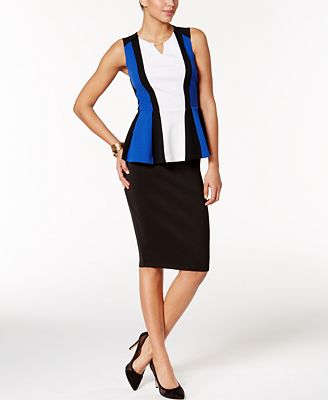 Thalia Sodi Colorblocked Peplum Top & Pencil Skirt, Only at Macy's