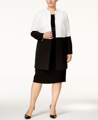 Kasper Plus Size Colorblocked Topper Jacket