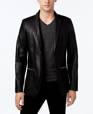 Calvin Klein Men's Classic-Fit Faux-Leather Blazer - Blazers ...