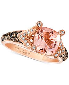 Le Vian Chocolatier® Peach Morganite™ (1-5/8 ct. t.w.) and Diamond (3/8 ct. t.w.) Ring in 14k Rose Gold