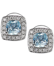 Le Vian® Aquamarine (3/8 ct. t.w.) and Diamond (1/10 ct. t.w.) Stud Earrings in 14k White Gold