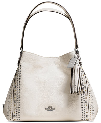 COACH Bandana Rivets Edie Shoulder Bag 31 in Pebble Leather