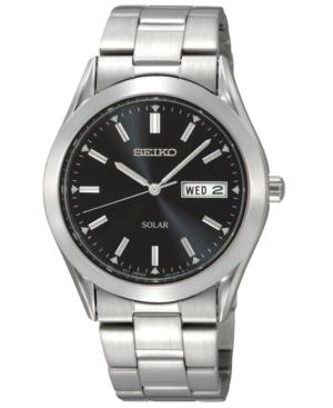 Seiko Watch, Men's Solar Stainless Steel Bracelet 37mm SNE039