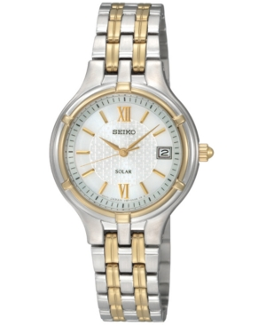 Seiko Watch, Women's Solar Two Tone Bracelet 28mm SUT020