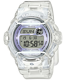 Baby-G Women's Digital Clear Resin Strap Watch 45x42mm BG169R-7E