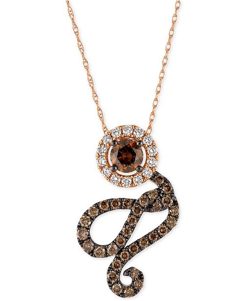 Le Vian Chocolatier® Diamond Swirl Pendant Necklace (1 ct. t.w.) in 14k Rose Gold