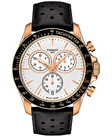 Tissot Men's Swiss Chronograph V8 Black Leather Strap Watch 42mm T1064173603100