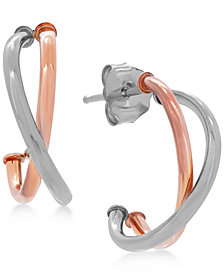 Crisscross J-Hoop Earrings in 10k White/Rose Gold, Rose Gold, White Gold or Gold, 1/2 inch