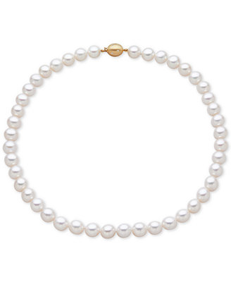 Cultured Freshwater Pearl (9 1/2mm) And Diamond Accent Collar Necklace by Macy's
