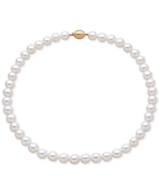 Honora Cultured Freshwater Pearl (9-1/2mm) and Diamond Accent Collar Necklace