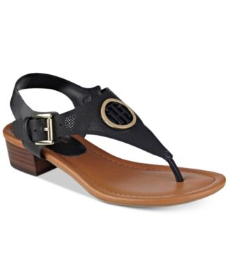 Image of Tommy Hilfiger Kandess Block-Heel Thong Sandals