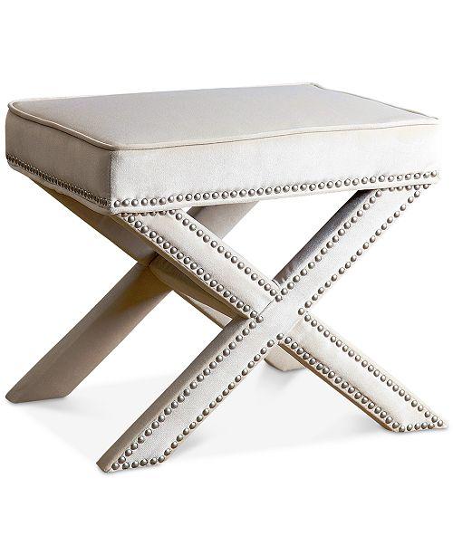Groovy Ganet Nailhead Trim Ottoman Bench Quick Ship Theyellowbook Wood Chair Design Ideas Theyellowbookinfo