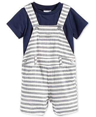 First Impressions 2-Pc. T-Shirt & Herringbone Shortall Set, Baby Boys (0-24 months), Only at Macy's